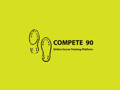 Complete 90 Logo training platform online compete ball soccer type vector logo illustration icon flat design branding