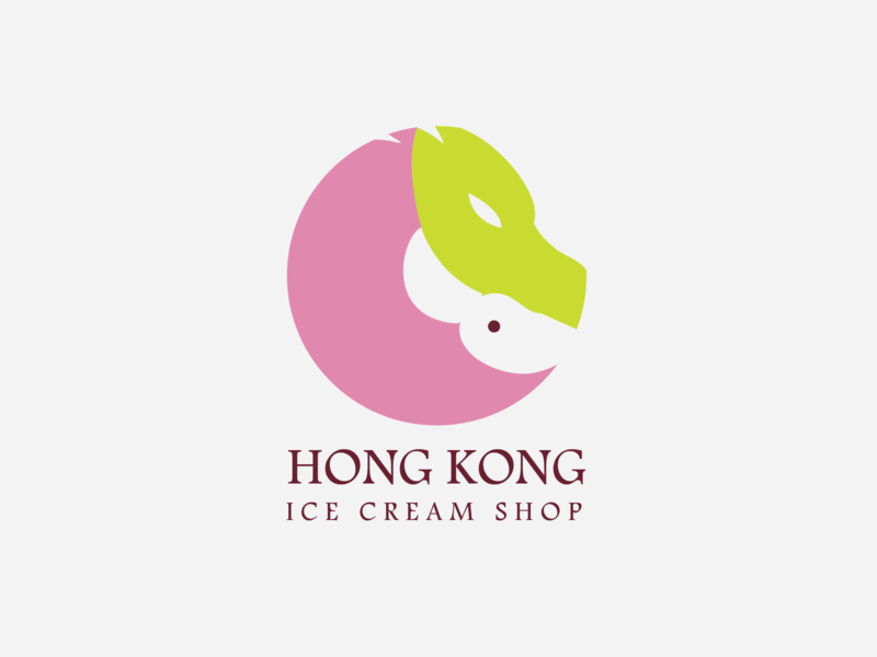 Hk Logo concept color hongkong ice cream ice type vector logo illustration icon flat design branding