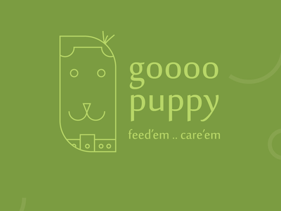 Go Puppy concept color dog-walk dog care puppy type vector logo illustration icon flat design branding