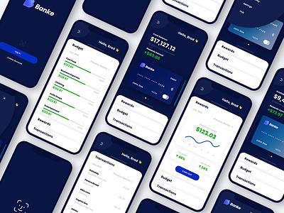 Banking App Screens ux kit uiux ui ui kit wallet app wallet finance app bank mockup finance banking banking app