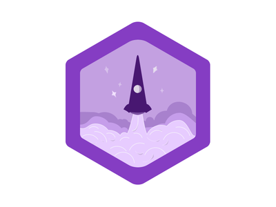 Launch - Badge Design wefunder scouts first shot launch take off rocket badge