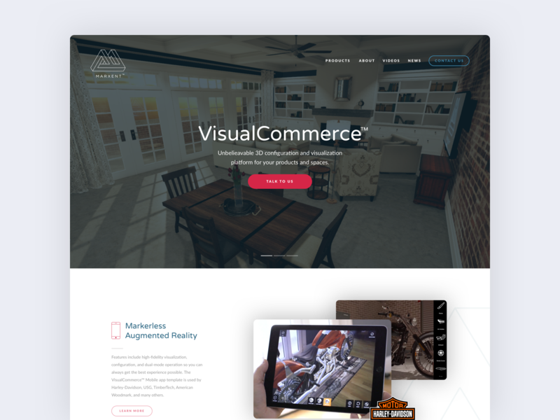 Marxent ecommerce virtual reality icon landing page hero ui ux design