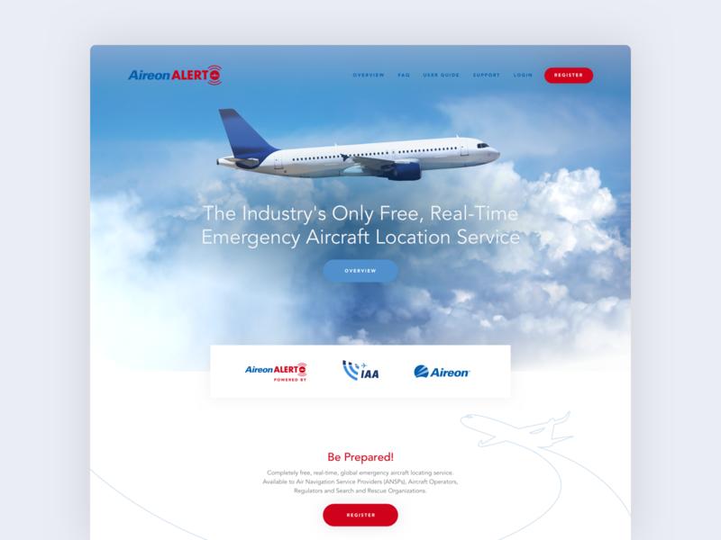 Aireon Alert flat logo aviation illustration landing page ui ux design
