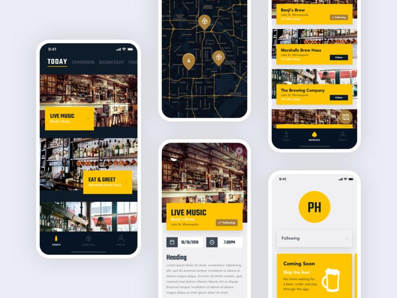 PubHub typography tabs map events beer drink pub ios app ios