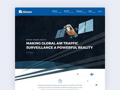 Aireon typography illustraion satellite aviation