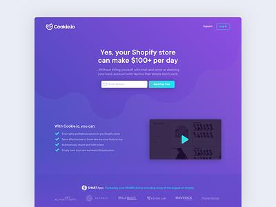Cookie.io ecommerce branding icon shopify cookie ui ux design