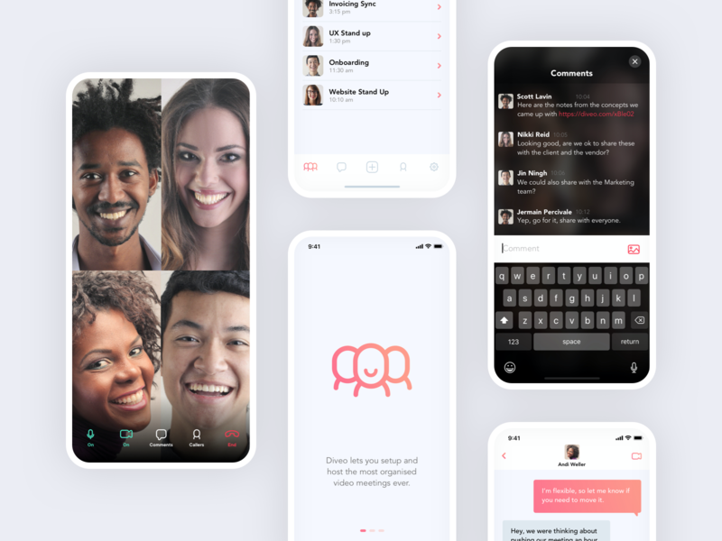 Diveo collaboration meetings video call app facetime video ui ux ios
