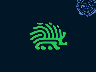 Hedgehog Logo animal logo cute finance security animal nature green fingerprint hedgehog