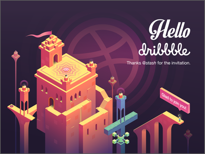 Hello Dribbble monument valley illustration first shot dribbble hello