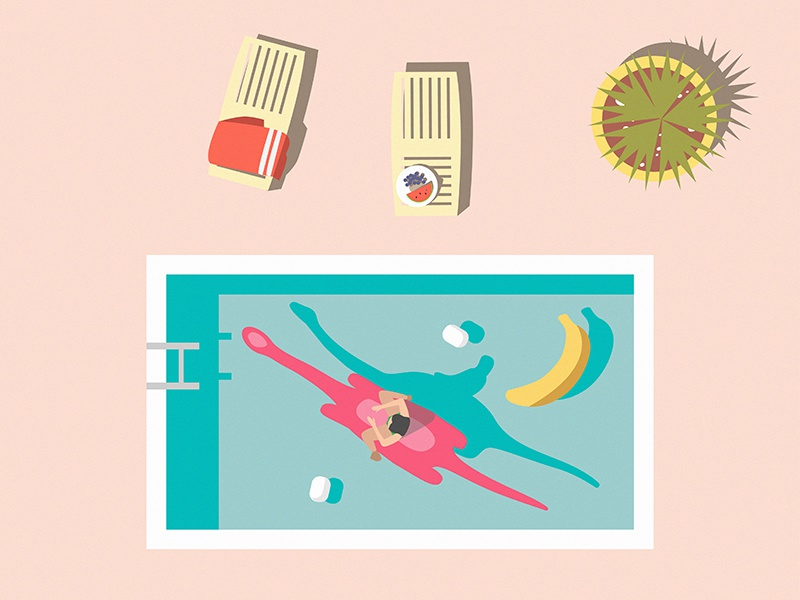Mesoholic summer pool summer vector