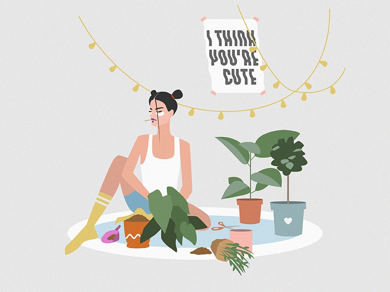 The Garden at 8th Avenue vectorillustration illustration weekend cozy home chill summer plants strong girl feminism girl nature
