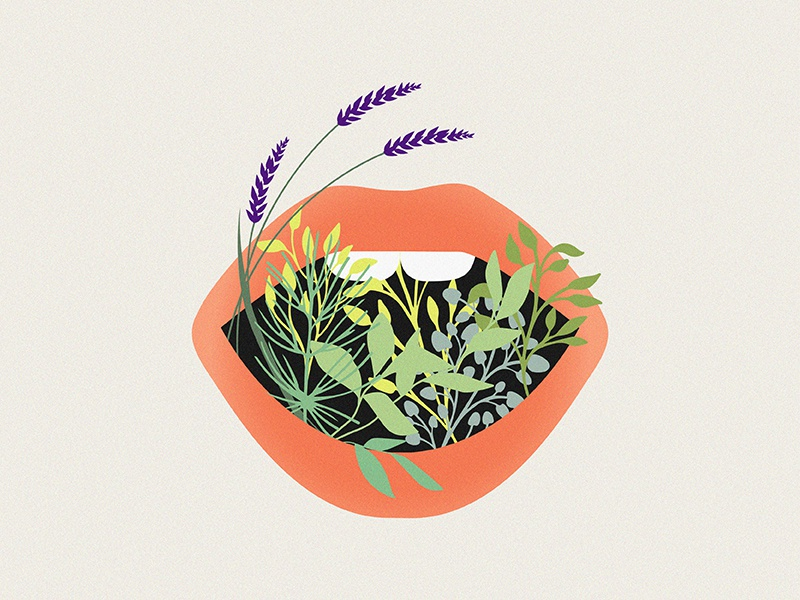 Lover's Kiss love plants lips marinawino nature illustration vectorillustration artwork vector