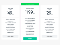 Pricing Table for DesignWall