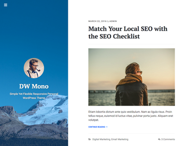 FREE Simple WordPress Theme: DW Mono minimalist simplicity simple mono wordpress freebies blog