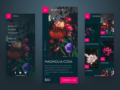 Dark Flower Shop App dark theme colors shopping navy plants fuchsia pink shop spring flowers design dark dark ui mobile app