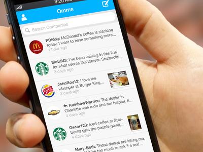 OmmYo App ios iphone app hand blue brands list feed logos