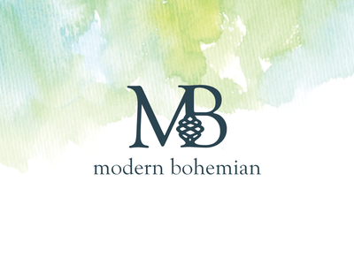 Modern Bohemian modern bohemian water color logo clothing clothes green blue letters