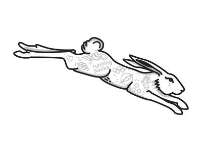 Running Sucks athletics track  field black pink gold illustration ink tattoo rabbit running