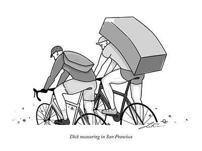 Dick Measuring in San Francisco illustration comic messenger bike cyclist san francisco contest new yorker