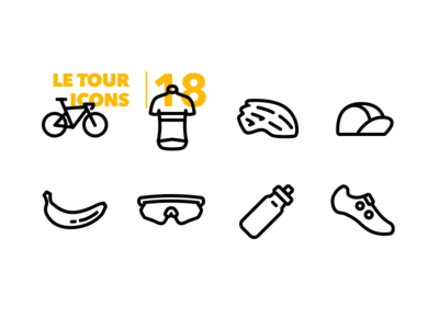 Le Tour Icons tour de france racing bottle helmet jersey flat clean minimal yellow banana bicycle cycling