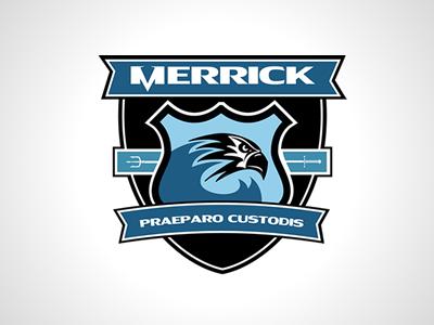 Merrick shield emblem badge logo trident