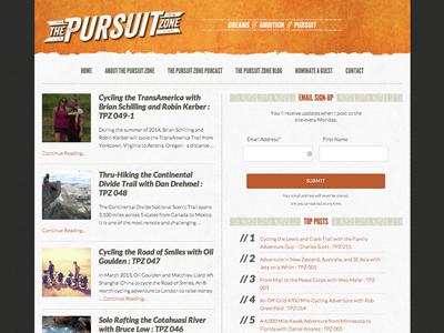 The Pursuit Zone blog design wordpress web design blog texture
