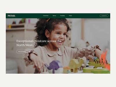 MiChild Landing Page typography concept web design clean web minimal design website ux ui