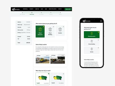 TW Services: Book a Skip bespoke booking system branding logo clean web minimal design website ux ui