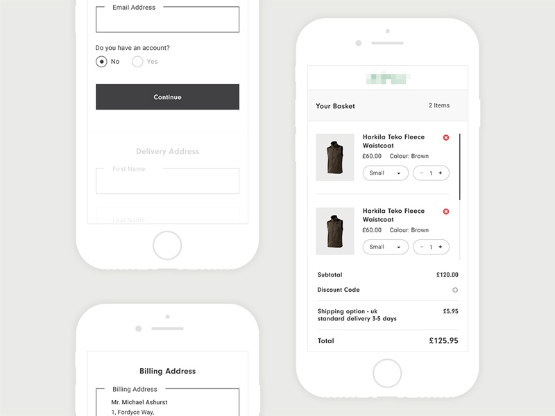 Responsive Checkout clean style clothing responsive iphone ux ui clean shop ecommerce buy checkout basket