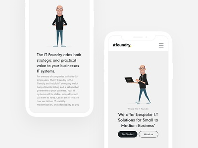 The IT Foundry website web design ux ui typography simple sanserif minimal header responsive iphone x clean