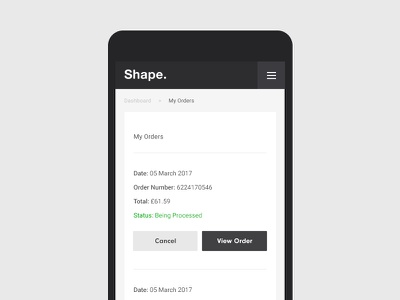 My Orders signup signin ios sanserif profile dashboard minimal responsive user manage account