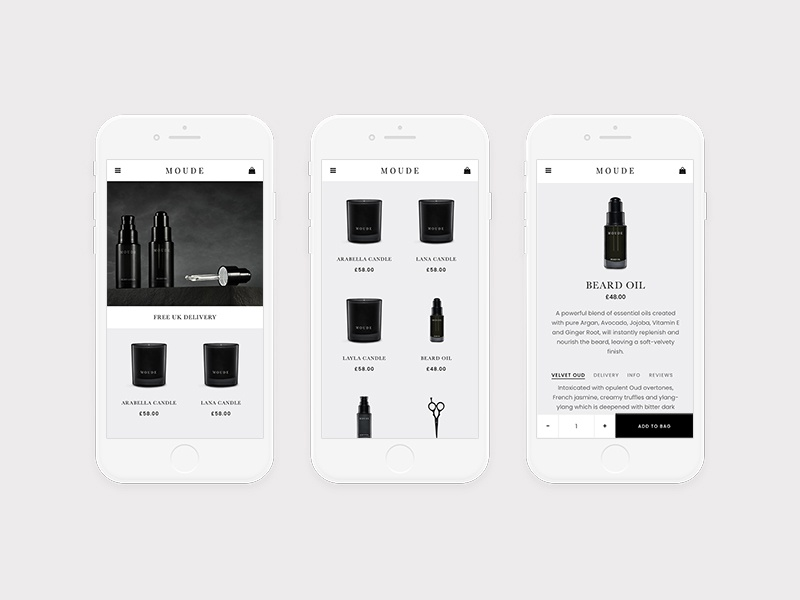 Moude grid menu screen design minimal ux ui responsive detail shop ecommerce product apple