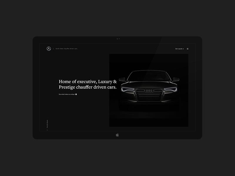Chauffeur Concept vehicle transportation car header hero concept home dark clean web ux ui