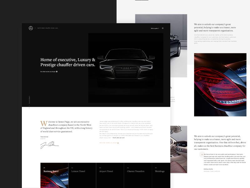 Chauffeur Homepage web vehicle ux ui transportation home hero header dark concept clean car