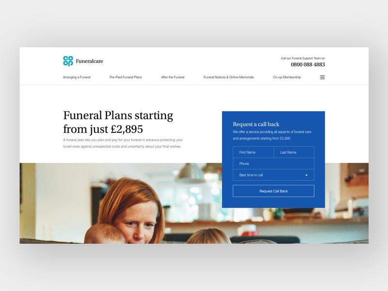 Co-op Funeralcare Header serif typography home header concept web design web clean minimal design website ux ui