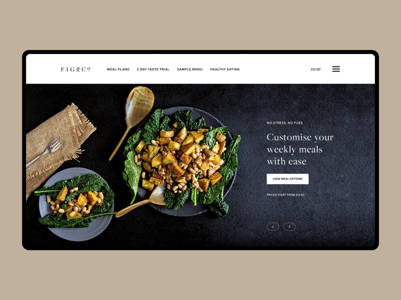 Fig&Co Concept user experience active healthy fit food hero ecommerce typography user interface nutrition meal prep concept minimal design website ux ui