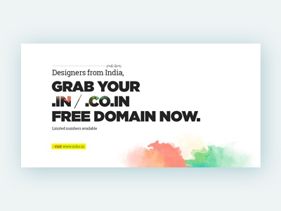 Banner Design - Zoho.in - 2014 bold font clean water color banner design banner free domain zoho zoho.in