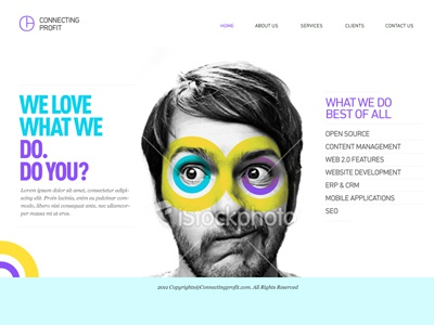 Connecting Profit - Website - 2011  modern fresh color home page website