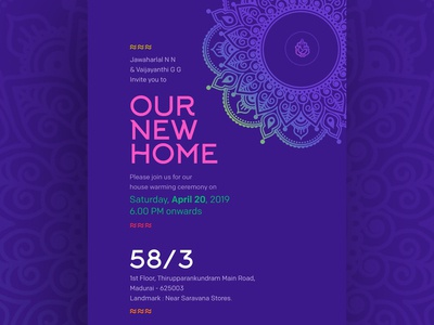 House warming invitation design floral pattern invitation new home invitation traditional art invitation card housewarming party invitation design