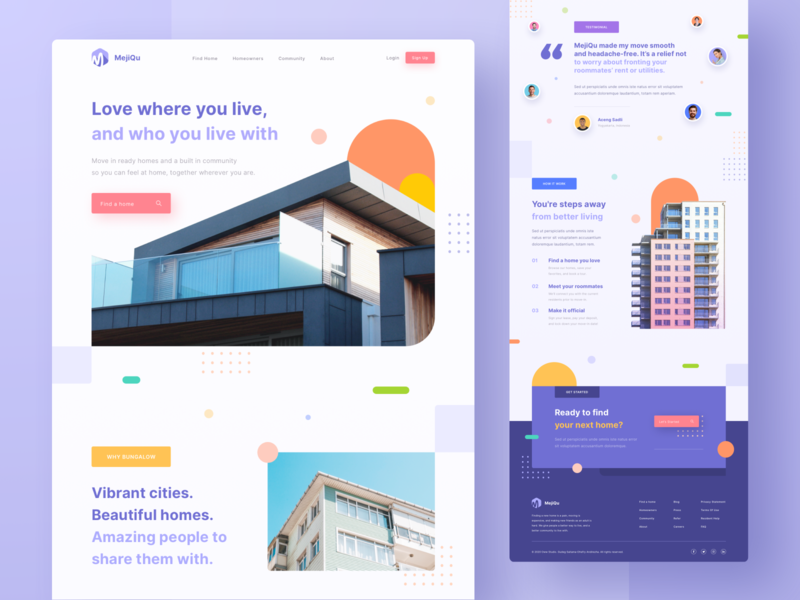 MejiQu - Find Place to Stay Landing Page homestay icon layout design buisness ui design photography purple buildings gradient design ux ui clean user interface home colorful homepage website web landing page