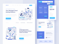 URAVITY - Hosting Landing Page homepage flat illustration platform layout cdn wordpress server hosting landing web design ux clean character character illustration ui illustration website design website web landing page