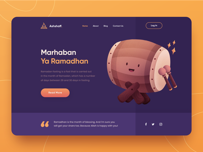 Ramadan Mubarak Web Header flat illustration illustration design vector gradient characters website design clean procreate ramadan mubarak header illustration landing page homepage ui illustration character illustration character header web design website web