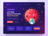Header Illustration for Coronavirus Awareness Website earth character simple illustrator healthcare covid-19 coronavirus web design header illustration colorful ux ui character illustration header gradient homepage website web
