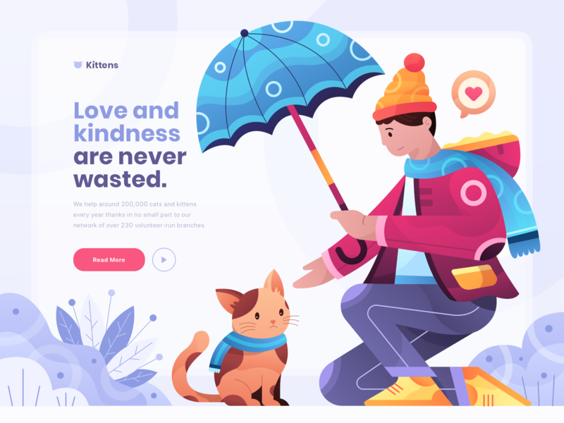 🐱 Kittens - Cat Rescue Website Illustration homepage plants procreate adobe illustrator umbrella love gradients rescue cat clean vector header illustration character colorful ui character illustration header gradient website illustration