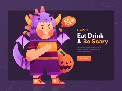 🎃 Booo Party - Eat Drink and Be Scary 👻 texture home cute illustration clean dark theme costume party party dragon web design homepage pumpkin helloween colorful header illustration ui character character illustration gradient illustration