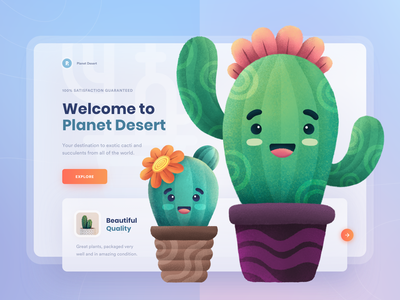 Planet Desert - The Best Quality Plants 🌵 green plant cute succulents texture userinterface clean ui cactus cacti procreate landing page ui colorful clean web design website homepage illustration character gradient