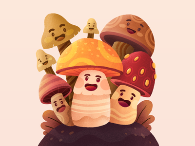 🍄 The Journal of Wild Mushrooming Header Website learning userinterface homepage cute orange pattern website design texture mushrooms procreate ui clean character gradient header character illustration landing page web design website illustration
