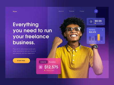 Piyuu - The Freelance Product Suite user interface business web apps software products web earning chart colorful website invoice clean ui product freelance web design header homepage landing page gradient