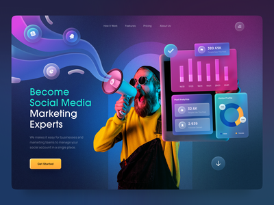 Header Exploration - Social Media Marketing gradient user interface glassmorphism homepage hero section exploration data icons stats clean analytics charts ux ui social media business marketing typography web design landing page