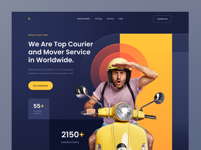 Header Exploration - Courier & Delivery Services tracking delivery buisness hero section landing page user interface dark yellow delivery service courier typography ux ui header clean design branding web design gradient homepage